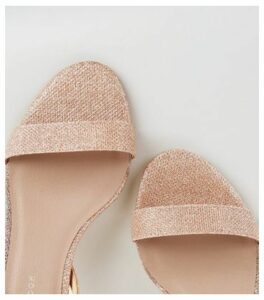 Wide Fit Rose Gold Glitter Mid Heel Sandals New Look