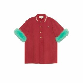 Oversize cotton polo shirt with feathers