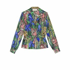 Silk shirt with Feline Garden print