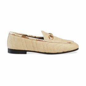 Women's Gucci Jordaan chevron raffia loafer