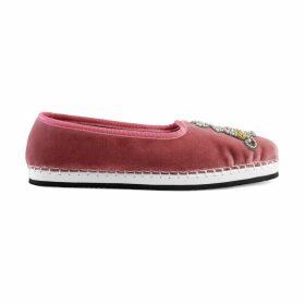 Women's velvet loafer with AM appliqué