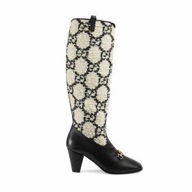 Gucci Zumi GG tweed knee boot