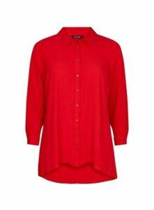 Red Dipped Hem Shirt, Bright Red