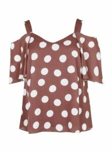 Taupe Spot Print Cold Shoulder Top, Mink