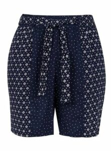 Navy Mix And Match Print Shorts, Navy