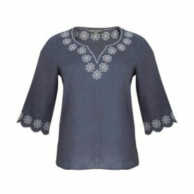 Blue Embroided Cutwork  Linen  Top