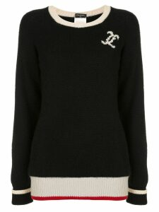 Chanel Pre-Owned CC logo long sleeve cashmere sweater - Black