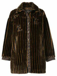 Fendi Pre-Owned striped faux fur coat - Brown
