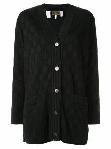 Fendi Pre-Owned check pattern cardigan - Black