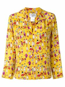 Chanel Pre-Owned 2001 printed zip-up shirt - Yellow