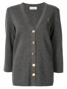 Yves Saint Laurent Pre-Owned button-embellished cardigan - Grey