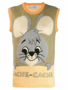 JC de Castelbajac Pre-Owned cartoon motif knitted vest - Yellow