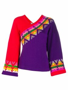 Kansai Yamamoto Pre-Owned patterned wide-sleeve jumper - PURPLE