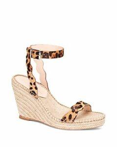 Loeffler Randall Women's Parker Leopard-Print Calf Hair Espadrille Wedge Sandals