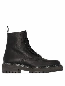 Proenza Schouler Leather Lace Up Boots - Black