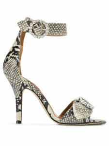 Paris Texas snakeskin effect sandals - NEUTRALS
