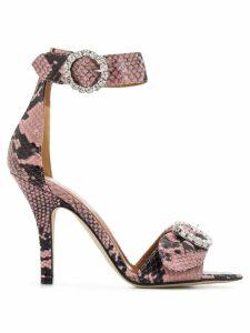 Paris Texas snakeskin crystal buckle sandals - Pink