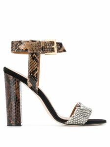 Paris Texas snakeskin effect sandals - Brown