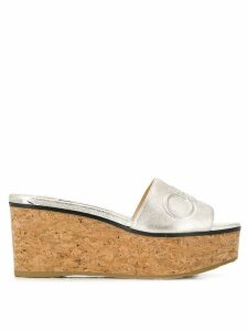 Jimmy Choo Deedee 80 wedge sandals - Metallic