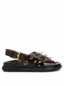 Marni pierced crossover strap sandals - Brown