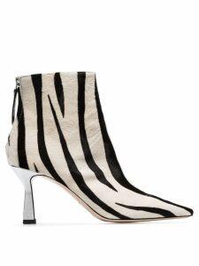 Wandler Lina 75mm zebra print ankle boots - White