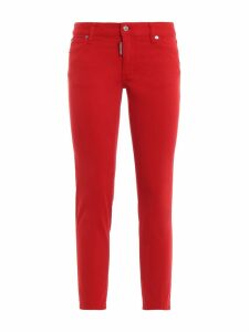 Dsquared2 Red Medium Waist Cropped Twiggy Jeans