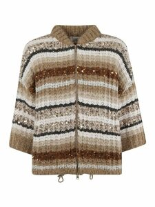 Brunello Cucinelli Sequin Cable Knit Cardigan
