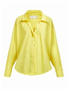 Marques'almeida - Cuff-ring Twisted-placket Cotton-poplin Shirt - Womens - Yellow