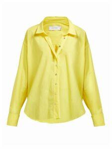 Marques'almeida - Cuff-ring Twisted-placket Cotton-poplin Shirt - Womens - Yellow