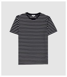Reiss Holborn - Striped Crew Neck T-shirt in White/navy, Mens, Size XXL