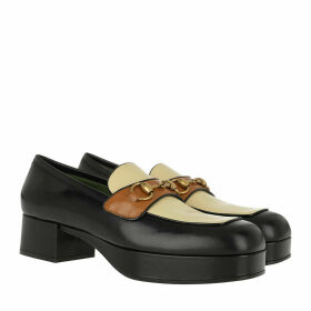 Gucci Loafers & Slippers - Horsebit Platform Loafer Leather Black/Brown - black - Loafers & Slippers for ladies