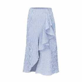 DIANA ARNO - Belle Striped Midi Skirt In Blue