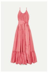 Kalita - Genevieve Gathered Tiered Silk-habotai Maxi Dress - Pastel pink