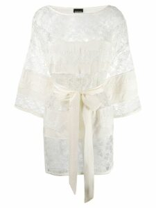 Ermanno Ermanno floral embroidered sheer tunic - White