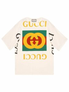 Gucci oversized T-shirt with Gucci logo - NEUTRALS