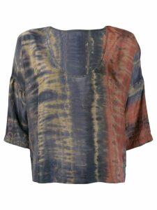 Raquel Allegra tie-dye flared top - Grey