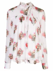 Adam Lippes high neck floral print blouse - White