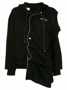 Ground Zero asymmetric zip front hoodie - Black