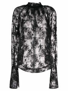 Ann Demeulemeester floral lace blouse - Black