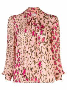 Carolina Herrera leopard print tie blouse - PINK