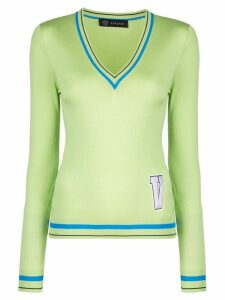 Versace letter patch sweater - Green