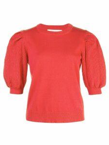 Carolina Herrera patterned sleeves jumper - Red