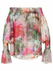 Adam Lippes floral print off-shoulder top - PINK