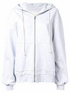 Juun.J slouchy zip front hoodie - Grey