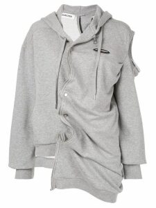 Ground Zero asymmetric zip front hoodie - Grey