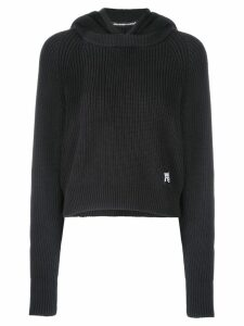 T By Alexander Wang logo patch knitted hoodie - Blue