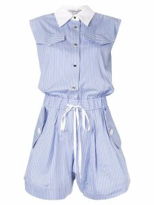 Comme Moi striped shirt playsuit - Blue