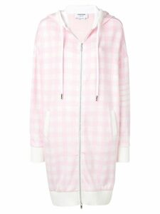 Thom Browne 4-Bar Gingham Oversized Hoodie - PINK