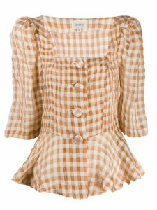 Isa Arfen ruched gingham top - NEUTRALS