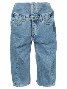 Y/Project pop-up denim shorts - Blue